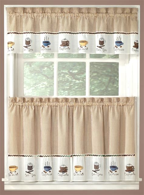coffee curtains valance tiers cappuccino kitchen