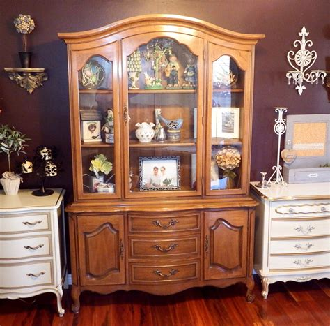 vintage shabby chic french provincial china cabinet hutch