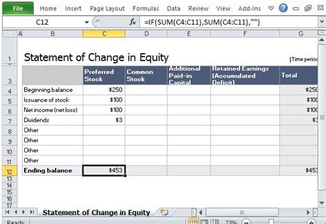 shareholders report template statement of change in equity template for excel