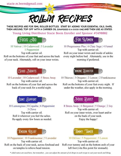 printable young living recipes diy essential oils roller ball blends making these roller
