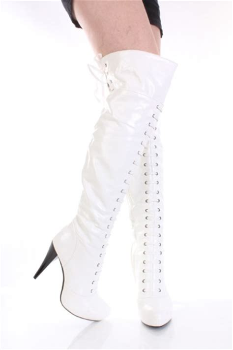 white patent faux leather lace up buckle knee high boots