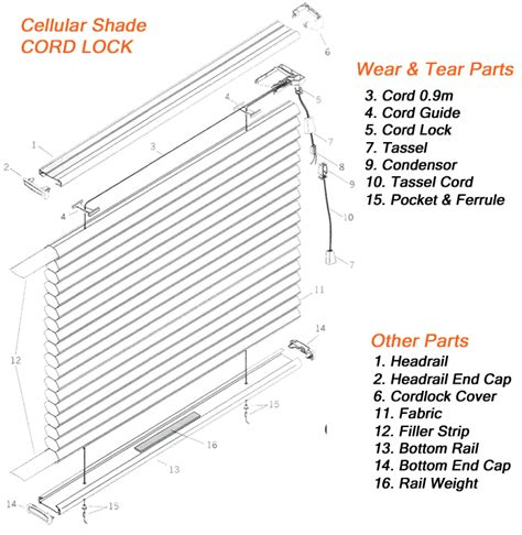 L Shade Parts Diagram by Parts For Shade Cellular Honeycomb Pleated Duette