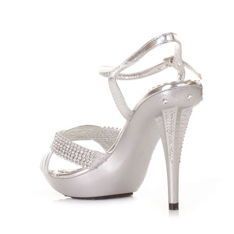 silver high heel shoe silver high heel diamante prom wedding embellished