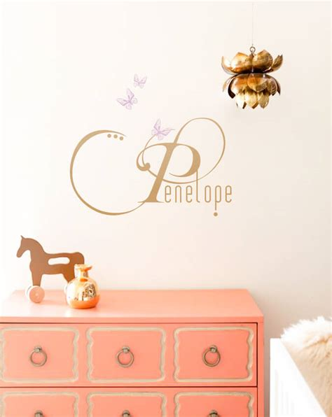 baby name wall stickers baby name decal with butterflies removable wall decals