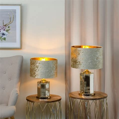 lampara mesa de cristal color oro  cm ibele home