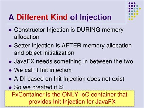 setter dependency injection in java javafx dependency injection with fxcontainer