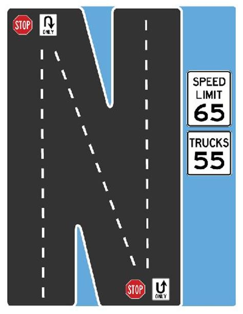 printable road letters 17 best images about drive the alphabet highway road