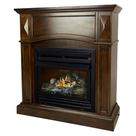 ventless gas fireplace pleasant hearth 20 000 btu 36 in compact convertible ventless propane gas fireplace in cherry