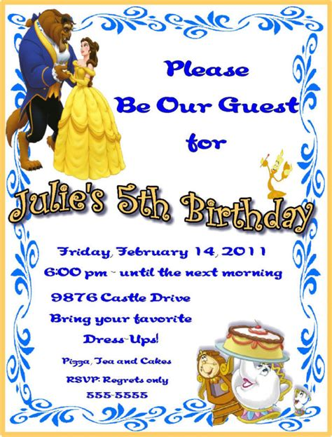 and the beast birthday card template and the beast birthday invitation ideas