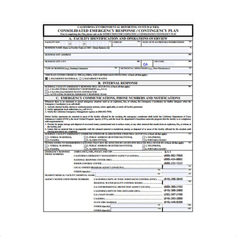 contingency plan template 9 free word pdf documents
