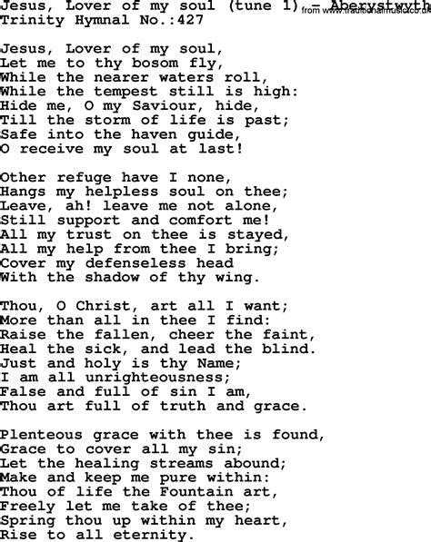 hymnal hymn jesus lover of my soul aberystwyth