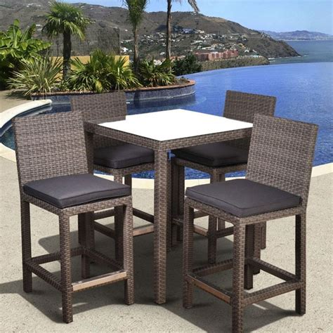 hayneedle patio furniture to it atlantic monza all weather wicker square bar height patio dining set seats 4