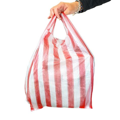 small carrier bag white stripe vest carrier bags small 11x17x21
