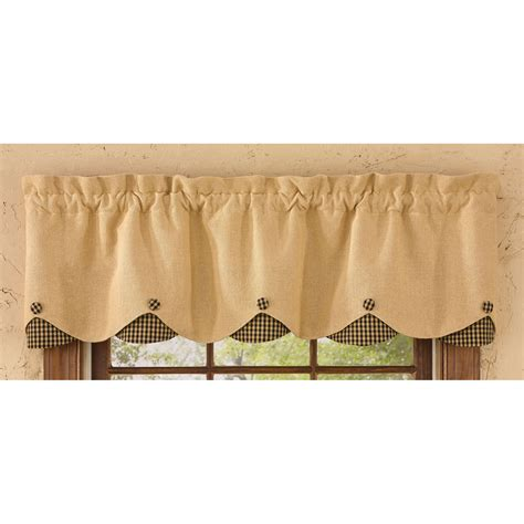 burlap curtain valance burlap and check scalloped curtain valance by park designs