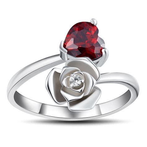 Rings For by Cut Garnet 925 Sterling Silver Promise Rings For