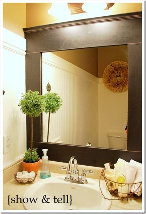 Diy Bathroom Mirror Ideas by 10 Diy Ideas For How To Frame That Basic Bathroom Mirror