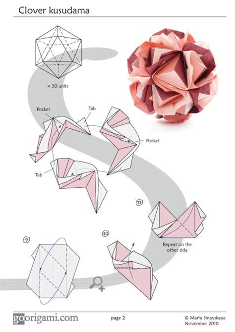 Origami On The Go - clover kusudama by sinayskaya diagram go origami