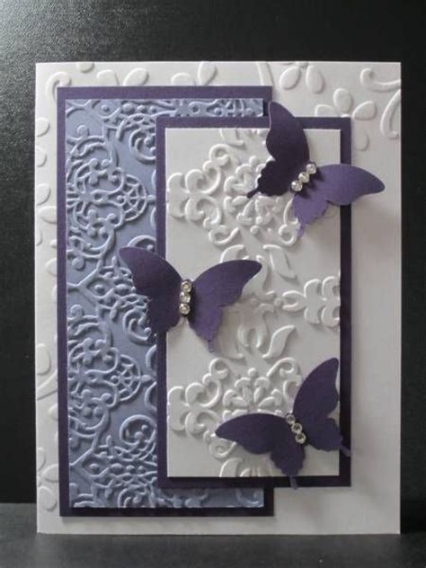 Embossed Birthday Card Ideas Butterfly Purple Embossing Folders Decor Diy