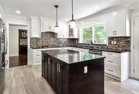 contemporary kitchen island with shaker style cabinets