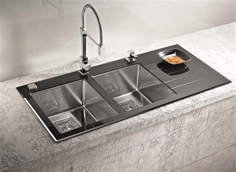Alveus Sinks by Alveus Crystalix 30 Inset Sink Glass Stainless Steel Olif