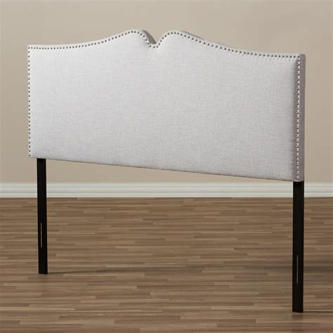 nail headboard baxton studio gracie modern and contemporary greyish beige fabric upholstered queen size