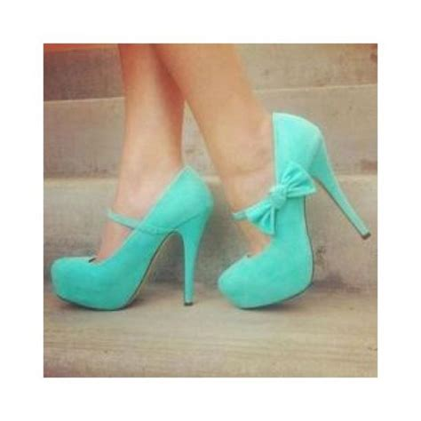 shoes blue high heels bow bows