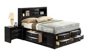 King Size Bed With Storage Drawers King Size Modern Panel Bed With Bookcase Headboard Storage
