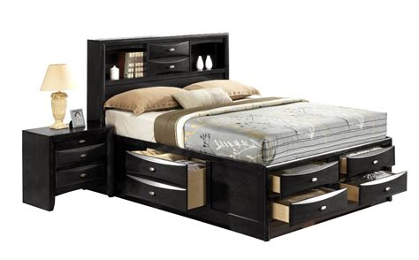 king size modern panel bed with bookcase headboard storage