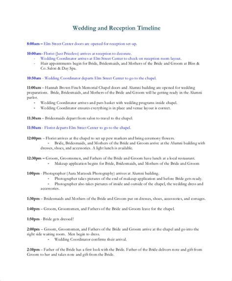 8 Wedding Timeline Sles Sle Templates Wedding Reception Template
