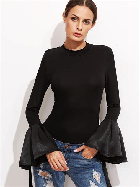 Bell Sleeve T Shirt black bell sleeve slim t shirt makemechic