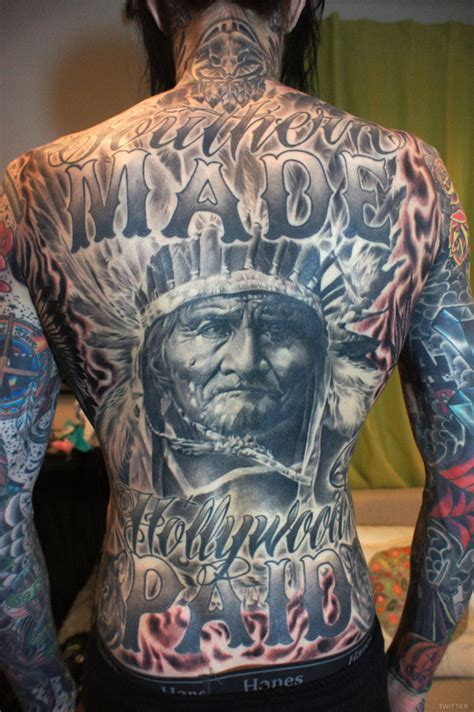 native american tattoo photo trace cyrus gets elaborate american on