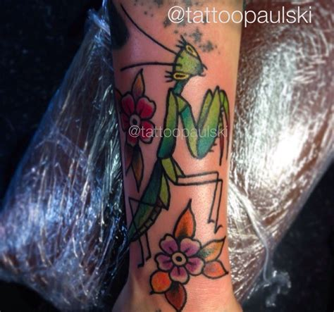 golden rule tattoo traditional style praying mantis by paulski at the