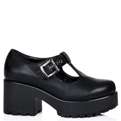 buy cattie heeled cleated sole platform ankle boots black