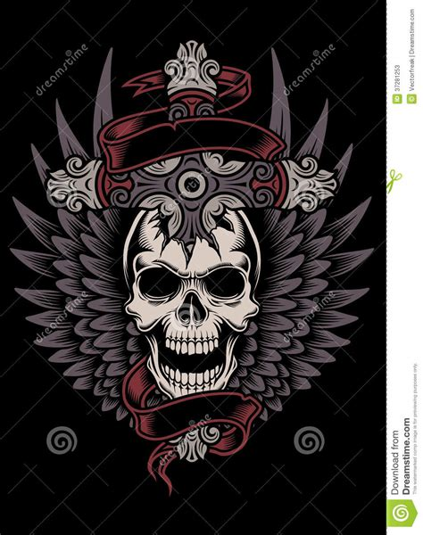 t shirt design background winged skull with cross stock vector image of skull