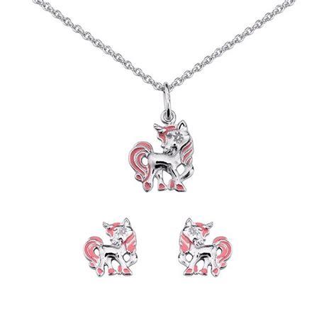 ensemble collier et boucles d oreilles motif licorne en