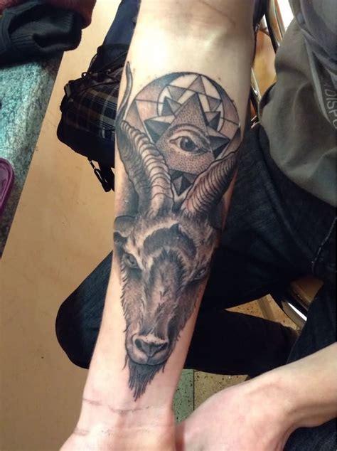 illuminati goat black ink goat with illuminati eye on right