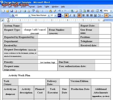 soft report template change request template screenshot business project