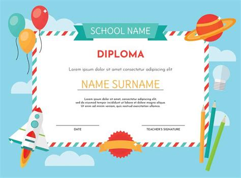 Kindergarten Diploma Template by Kindergarten Diploma Template Free Vector