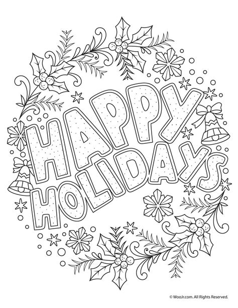 happy holidays coloring pages happy holidays coloring freebie woo jr