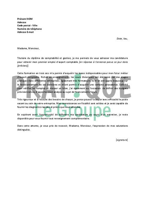 Exemple De Lettre De Demande D Emploi Comptable lettre de motivation pour un emploi d expert comptable