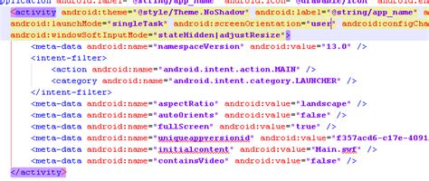 android landscape layout manifest 修改air for android manifest xml下默认的screenorientation