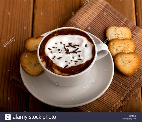 Moccachino Coffee Latte white cup with coffee chocolate cappuccino latte or mochaccino stock photo royalty free
