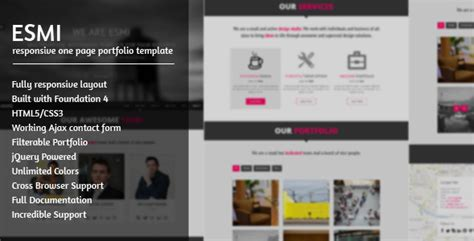 Cizarua Responsive One Page Portfolio Template esmi a responsive one page portfolio template by