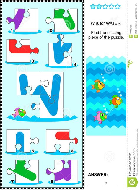 abc learning educational puzzle letter w water stock