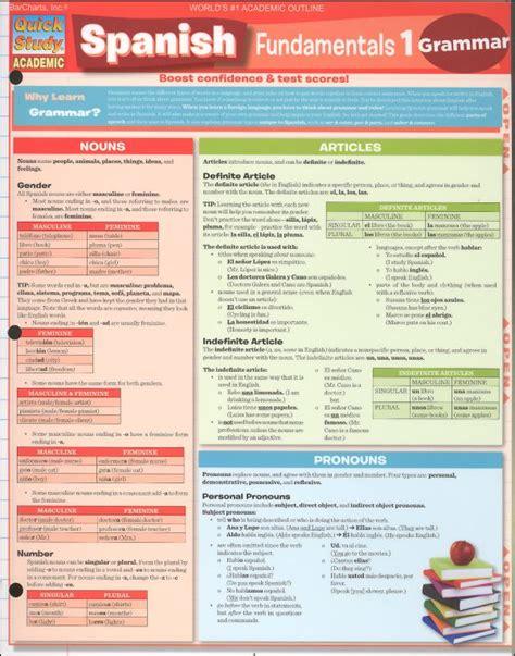 spanish grammar quick study spanish fundamentals 1 grammar quick study 015390 details rainbow resource center inc