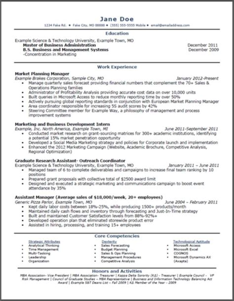 marketing resume sle pdf mba marketing resume sle 28 images master of business