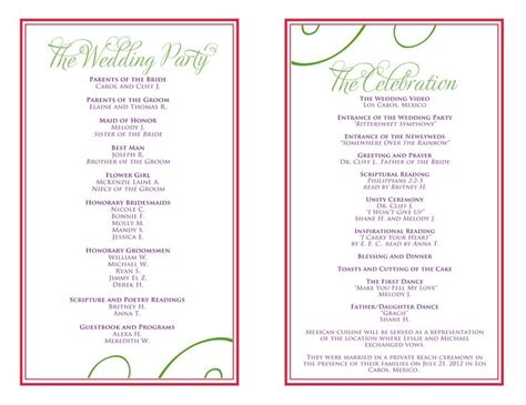 wedding itinerary templates free wedding reception