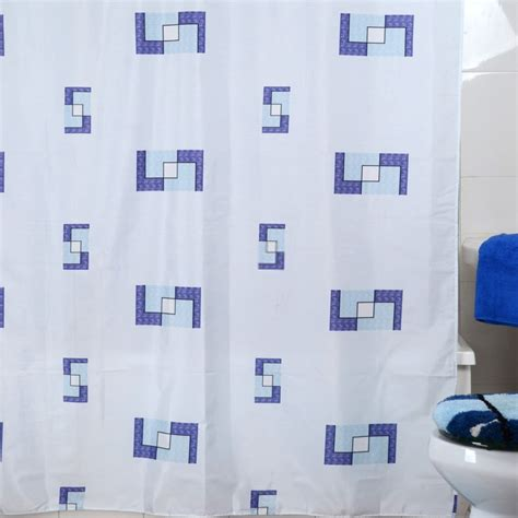 blue and white modern shower curtain for bathroom