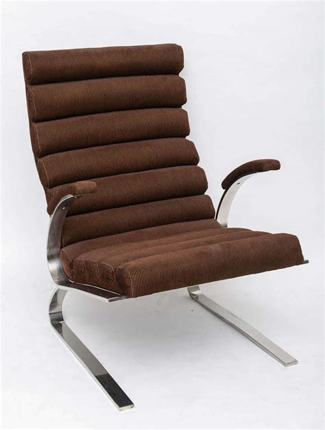 thayer coggin chair and ottoman polished chrome chair and ottoman by milo baughman for