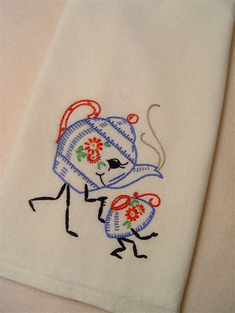 embroidery designs for kitchen towels friendship tea hand embroidered kitchen towel with vinta
